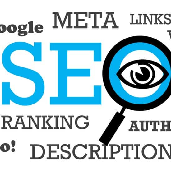 SEO in big blue letters surrounded by ranking factors