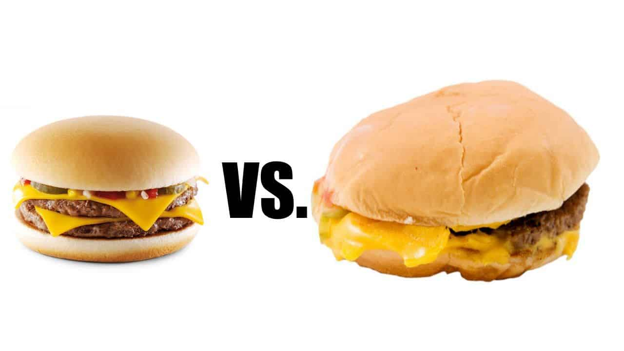Neat burger and sloppy burger with VS in the middle